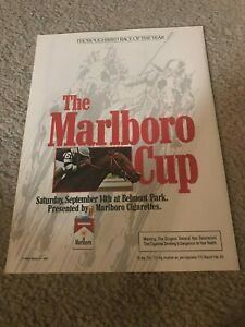 Vintage 1985 MARLBORO CUP HORSE RACING Poster Print Ad CHIEF'S CROWN RARE