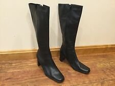 New (tried on) Worthington Womens Boots Black High Heel Wide Calf Leather Sz 12M
