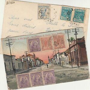 BRAZIL-EGYPT 2 old P.C.Rare Destination to Cairo Multi Colored Stamps 1921-52