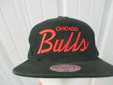 MITCHELL & NESS CHICAGO BULLS SCRIPT RETRO BLACK SNAPBACK CAP HAT NWOT DS