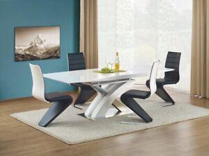 """""""SANDOR"""" White High Gloss Modern Extending Dining Table 160 - 220cm"""