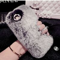 Warm Soft Fluffy Rabbit Fur Case Crystal Rhinestone Phone Cover for iPhone 7 6S