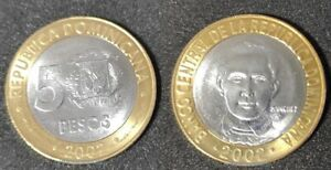 DOMINICAN REPUBLIC 5 PESOS 2002 SANCHEZ UNC NEW BI METALLIC COIN G433