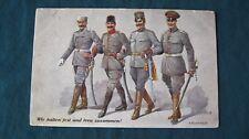 WWI  GERMAN - OTTOMAN  - AUSTRIA - BULGARIA  OFFICERS  PROPAGANDA  POSTCARD