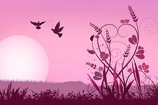 A4 Poster – Pink View of Birds, Flowers & Sunset (Picture Print Minimal Art)