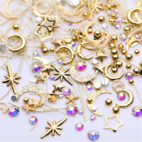 3D Nail Art DIY Moon Star AB Color Rhinestone Metal Alloy Nail Studs Decoration