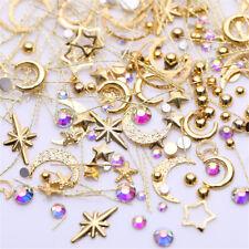 Mix Gold Nail Art Rivet Star Moon Pearl Rhinestones Gems 3D Manicure Decoration