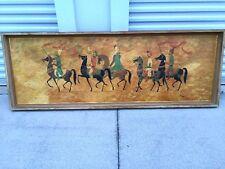 STUNNING Unique ART work Painting of ARAB DESERT Men HORSES ESTATE One of a KIND