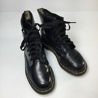 VTG England Doc Martens Black Smooth Leather Lace Up Womens Combat Boots Sz 5