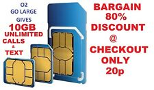 * o2/02 Sim para iPhone 4 y 4S Micro o 3G & S3G 10GB estándar de Internet