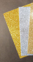 3 x SAMPLE Glitter Card Sheets-A6/C6 220-250gsm Card-Sparkling, Silver/Gold