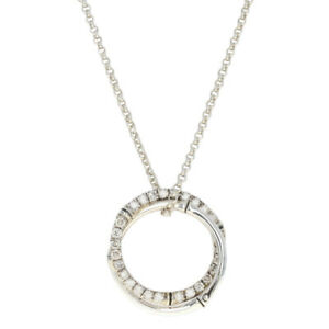 John Hardy Bamboo Circle Diamond Necklace Silver - 925 Round Cut 1.00ctw