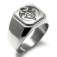 Stainless Steel Celtic Dragon Triquetra Symbol Square Biker Style Signet Ring