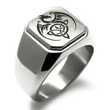 Stainless Steel Celtic Dragon Triquetra Symbol Square Biker Style Polished Ring