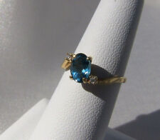 14K Yellow Gold Natural London Blue Oval Topaz Diamond Accents Ring Size 5.75