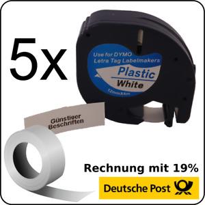 5x 91201 91221 kompatible Schriftbandkassette für Dymo LetraTag LT-100H XR QX50