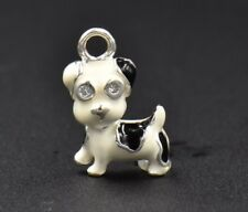 Vintage White Black Spotted Puppy Dog Enamel Sterling Silver Charm Terrier 925