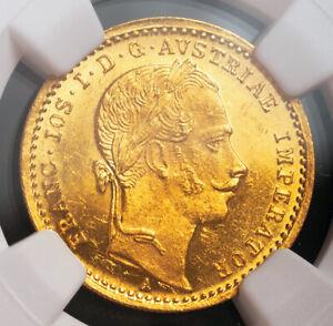 1863, Austria, Francis Joseph I. Rare Proof-Like Gold Ducat Coin. NGC MS-62 PL!