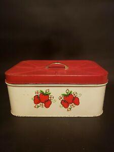 VINTAGE TOLE BREAD BOX TIN STRAWBERRIES ANTIQUED COTTAGE UNIQUE Red