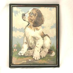 Vintage Paint By Number Puppy Dog Spaniel Glass Framed Gold Trim