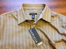Men's VAN HEUSEN Small Brown Dress Shirt button down long sleeve NWT