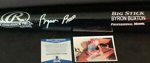Byron Buxton Minnesota Twins Autographed Signed Engraved Bat Black Beckett COA