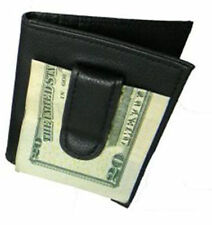 BLACK 100% LEATHER BIFOLD MONEY CLIP Credit Wallet Holder Metal ID Badge 55 Thin