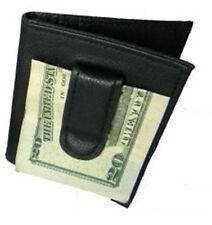 BLACK 100% LEATHER BIFOLD MONEY CLIP Credit Wallet Holder Metal ID Badge 55 Thin