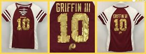 Women's Robert Griffen III Washington Redskins V-Neck SEQUIN Lace Jersey Tee