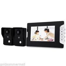 7'' Video Door Phone Doorbell Intercom Kit with 2 camera 1 monitor Two Way Audio