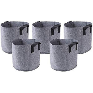 HONGVILLE 5 Piece Grow Bags/Aeration Fabric Pots with Handles (1-30 Gallons)