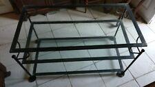 Table de salon en fer forgé et 3 plateaux en verre épais