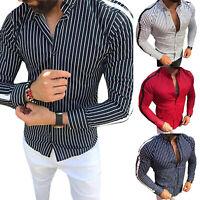 Men Long Sleeve Slim Fit Stripe T-Shirt Summer Muscle Dress Shirt Blouse Tee Top