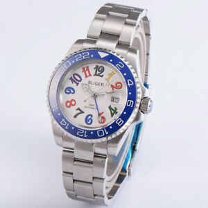40mm BLIGER blue Bezel white dial GMT sapphire automatic mens watch date