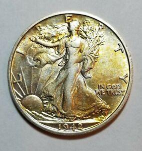 1942 S Walking Liberty Silver Half Dollar ~Nice Toning ~San Fran Mint  XF+  #D17