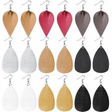 """Faux Leather Teardrop Earrings Lot of 9 Pairs Wholesale Vegan Jewelry 3"""""""