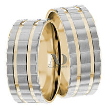 Two Tone 10K Solid Gold Matching Wedding Band Set 8mm Couple Matching Ring Set