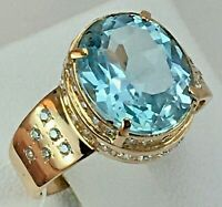 Vintage Original Rose Gold Ring with Natural Topaz 585 14K, Natural Topaz Ring