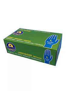 NEW Sunset brand LATEX GLOVES, 100 count, powder free, LARGE size, single use