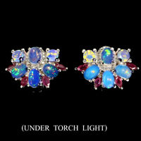 Unheated Oval Fire Opal Rainbow Flash 6x4mm Ruby Cz 925 Sterling Silver Earrings