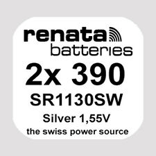 2x Renata 390 Uhren-Batterie Knopfzelle SR1130SW AG10 Silberoxid Blisterware Neu