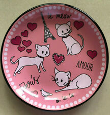 Whisker City Pink Paris Hearts Girl Amour Le Meow Cat Saucer