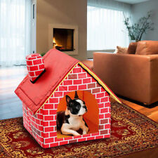 Portable Brick Dog House Warm Cozy Indoor Outdoor Puppy Pet Bed Home Windproof