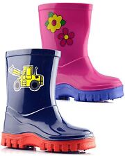 Boys Girls Wellingtons Ankle Boots Infant Baby Grip Sole Slip On Shoes Size
