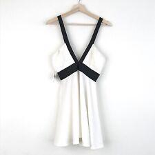 NWT Nastygal Womens Ivory Fit Flare Mini Dress Size Medium