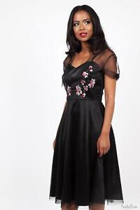 Voodoo Vixen Womens Black Floral Emboidery Dress 1950s Vintage Inspired Retro