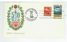 Lithuania 1918 1968 Illinois 1818 1968 comm cover Lithplex Chicago SC 1339 Mi415
