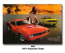1971 PLYMOUTH CUDA 383 CONVERTIBLE 24x36 POSTER 426 HEMI 340 440 '71 HEMICUDA
