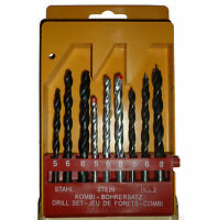 9 PC ASSORTED DRILL BIT SET FOR WOOD, METAL AND MASONARY