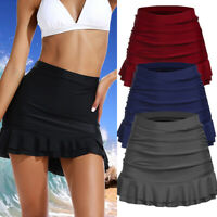 Womens Swim Skirt Ruched Skorts Bikini Bottom Swimsuit Tummy Control Swimwear